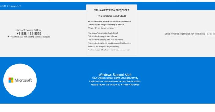 Pornographic virus alert from Microsoft pop up