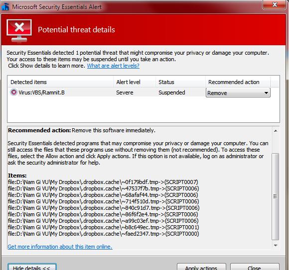 remove Dropbox virus