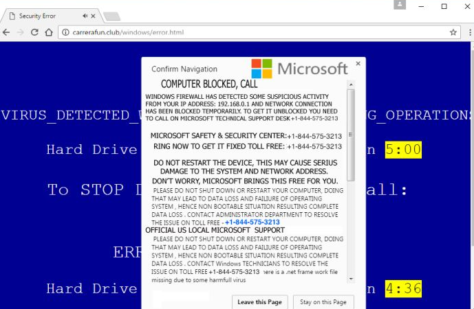 Microsoft Attention Fake Alert Virus