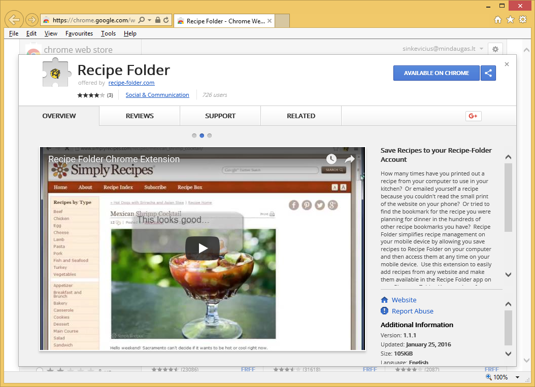 Recipes Chrome Extension