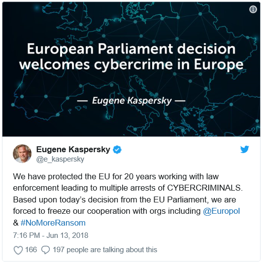European Parliament votes in favor of a controversial motion, Kaspersky stops cooperation with Europol as a result
